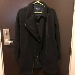 NWOT Madewell Black Wool and Leather Coat